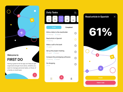 Time Management App interaction design concept design concept task management mobile ui mobile design mobile app mobile app design app design app