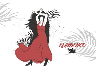 Flamenco poster ink painting design expressive exotic hand drawn art girl character performance poster illustration vector spanish girl dancer flamenco