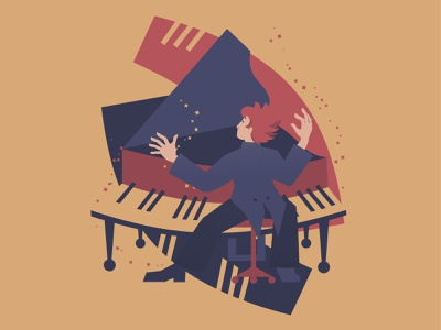Piano player vector illustration concert music art jazz classical music music player magic man person expressive pianist performer abstract musician music design painting character vector art illustration