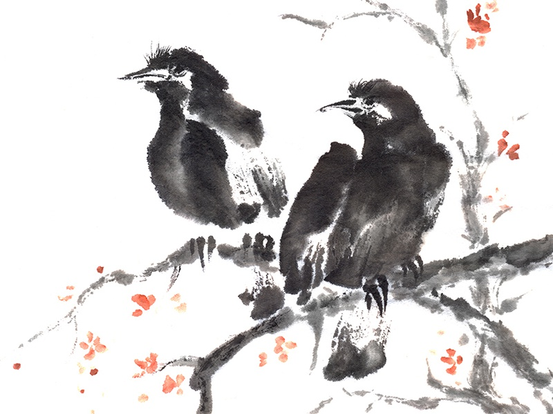 two crows sumi e ink painting by maryna sokolyan dribbble dribbble