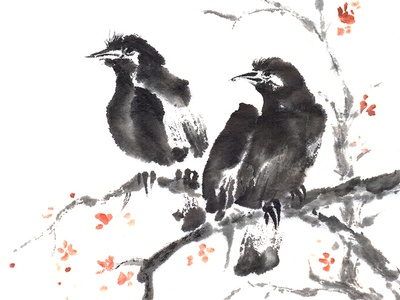 Two Crows sumi-e ink painting