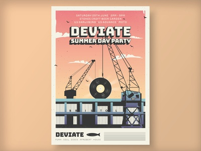 Deviate Summer Party vinyl record sky crane bristol vector ai illustrator illustration poster gig music branding flyer event