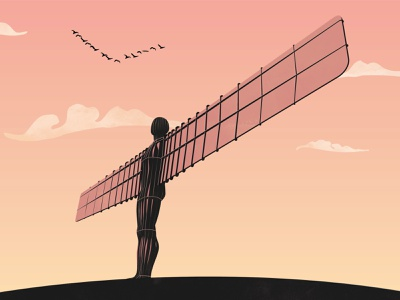 Angel of the North illustration clouds sky outdoors icon landmark england north angel of the north angel sculpture statue