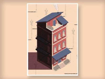 Isometric House poster sketch surreal cityscape art city architecture building house iso isometric illustration