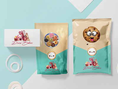 Bakery Branding and Packaging -  Divine Bakers flat design cake shop sachet pouch bakery cakery food art food and beverage branding illustration