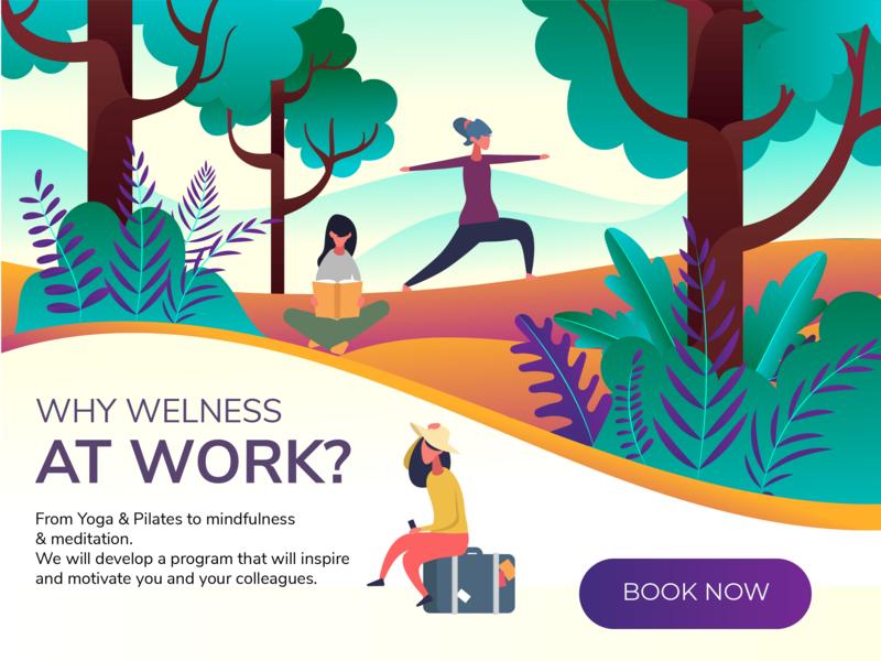 Yoga Classes colors vector ux web design classes yoga nature illustration explore education design