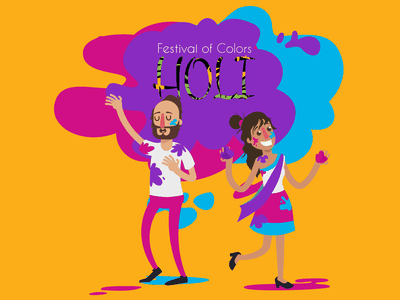 Holi Illustration festival colour splashes colors holi happy holi inspiration illustration