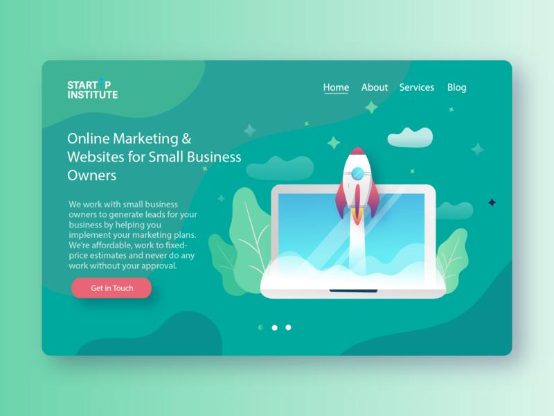 StartUp Institute - Marketing Agency Landing Page typography web design gradients design ux flat design ui colors icon illustration branding