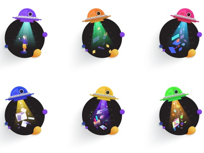 Alien Abduction Icons web animation illustration ui flat branding vector art iconset logo web illustration icon