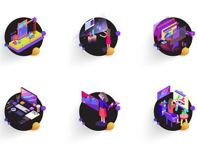 Services icon set animation website ui ux web logo web illustration vector art illustration icon iconset flat design