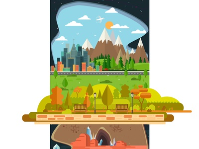The World Is A Mess Try landscape cityscape city website design vector vector art web illustration web illustration animation flat