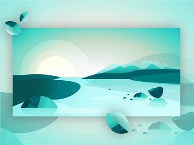 Thin Ice blue gradients winter sunset sunset illustrator art graphic design web design illustration web illustration digital illustrations ice vector art flat