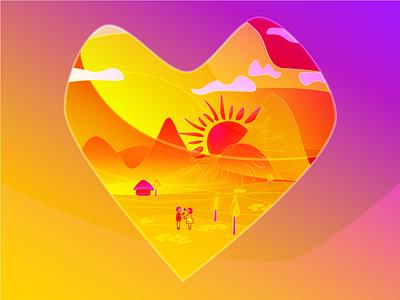 Love is beautiful flat graphic design design icon logo web illustration sunburst sunlight heart shape heart icon lovely love is love illustration vector art heart sunset love