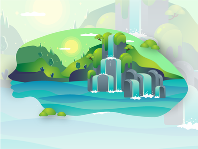 A Mind Full flat landscape design forest mountain waterfalls scenery landscape nature graphic design illustration web illustration vector art