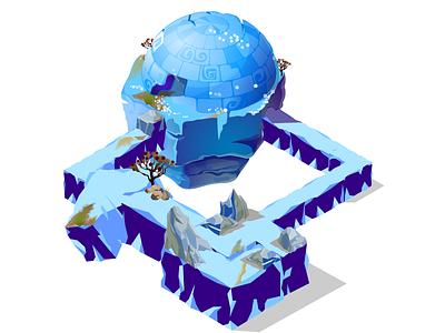 2d To 3d Dribble Version winter scene 2.5d illustration environment design game level game design design
