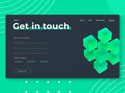The BioCos Contact Page - Interaction Design render octane cinema4d branding logo illustration ui interface app 3d animation interaction design