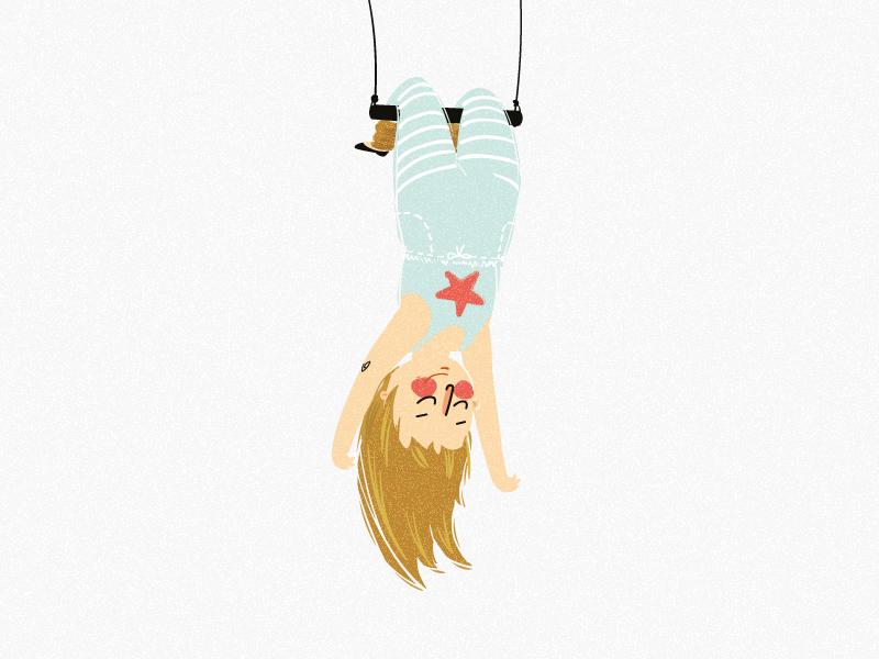 Картинка девушка висит вниз головой