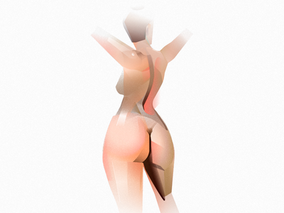 Nude woman body slim spa pose torso back woman figure naked butt nude girl art illustration vector