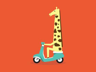 Jir-aff illustration moped giraffe