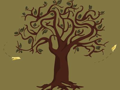 Invited fern illustration tree wedding invite