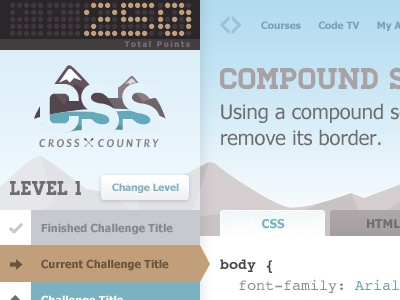 Cross-Country css ui snow points