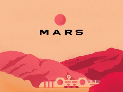 Is There Life On Mars visual art textured spaceage intresting abstract concept visual intergalactic limited palette space mars vector art video retro typography illustration simple graphic design