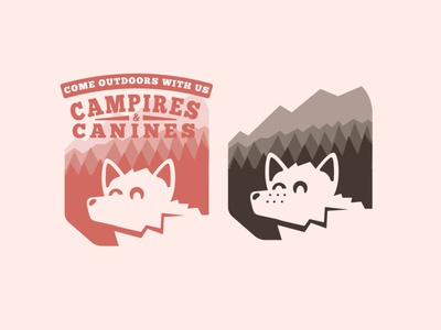 CAMPFIRES AND CANINES illustration concept branding logo graphic design clean