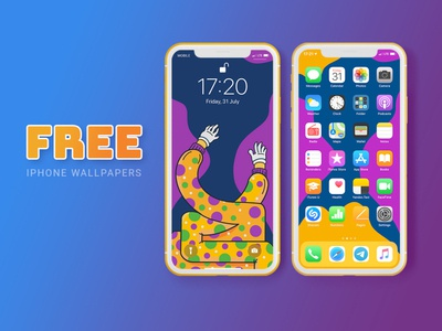 Free iPhone Wallpapers magenta blue yellow