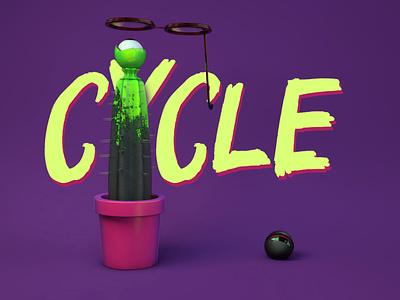 Cycle modeling velvet green cactus 3d 3dart art