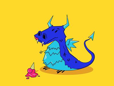 Ice Dragon character icecream dragon flat design blue illustration art