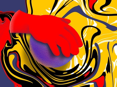 Everything in your hand hand red colorful art yellow