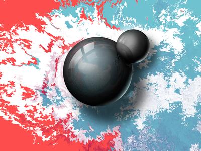 Fragility abstract white balls black digitalart art