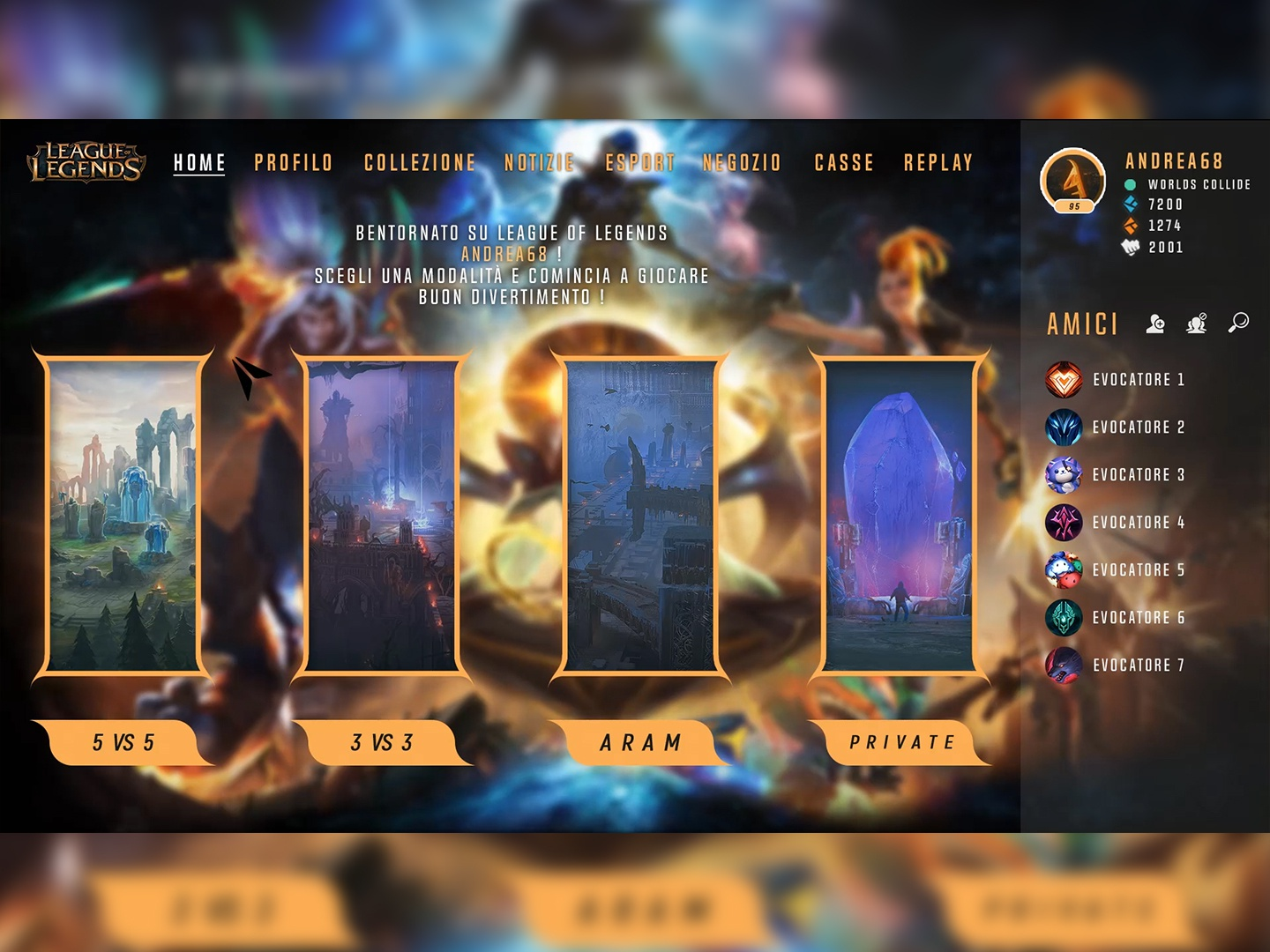League of Legends UI/UX ReDesign [IT Layout] by Andrea