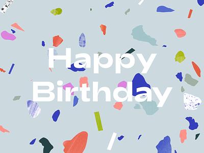 Happy Birthday terrazzo happy birthday birthday card birthday design colorful illustration typography