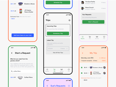 Picket - Grocery Trip Coordination App covid-19 covid19 covid design challenge product design ui  ux ux ui design grocery mobile app design mobile app ui app