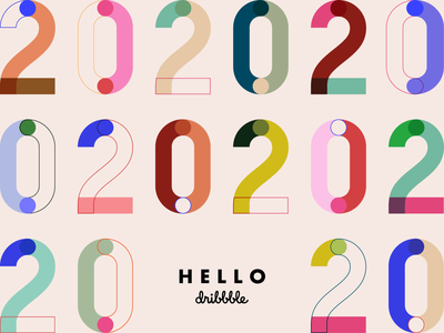 Hello Dribbble logo type new year typographic typography art 2020 first shot color palette color colorful design typogaphy