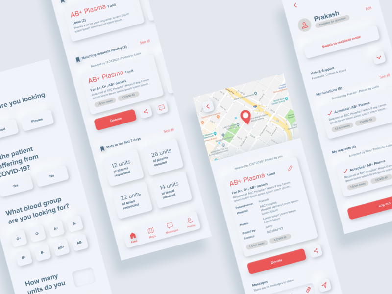 Blood Donation App - Work in progress neutral donation blood neumorphism neumorphic minimal user interface ux user experience mobile app ui