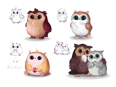Owl characters cute illustraion character design