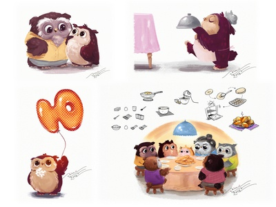 Illustrations for children's culinary magazine illustration funny owls childrens book character design