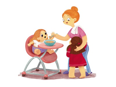Mom and kids illustration funny character childrenbook illustration kids mom