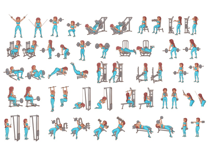 Girl showing sports exercises fitness girl exercises sportillustration sport character design