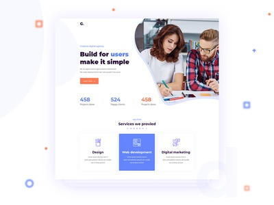 Landing page WIP flat design website web ux ui landing page homepage 2019 design trend