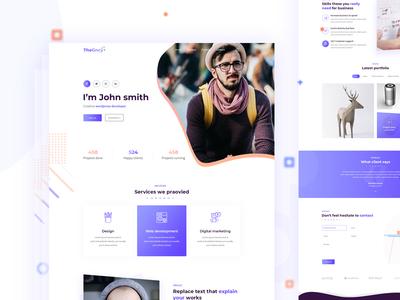 Personal portfolio cv resume idea web website typography design flat homepage 2019 design trend landing page personal website cv resume template resume cv personal portfolio