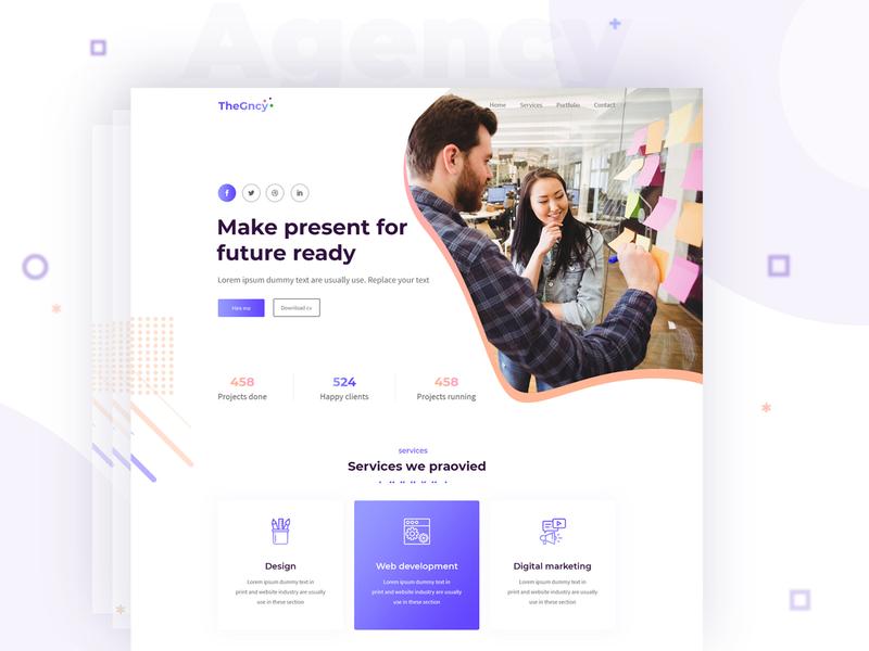 Agency multipurpose HTML template social media marketing digital agency seo illustration agency landing page homepage design website