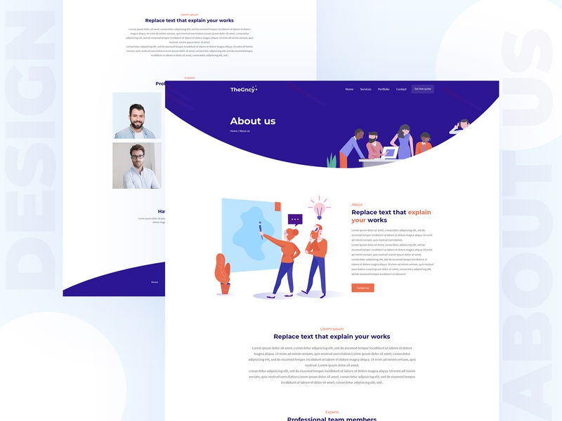 about us page website app landing page service page blog articel digital agency business design landing page contact us inner page web template homepage aboutus