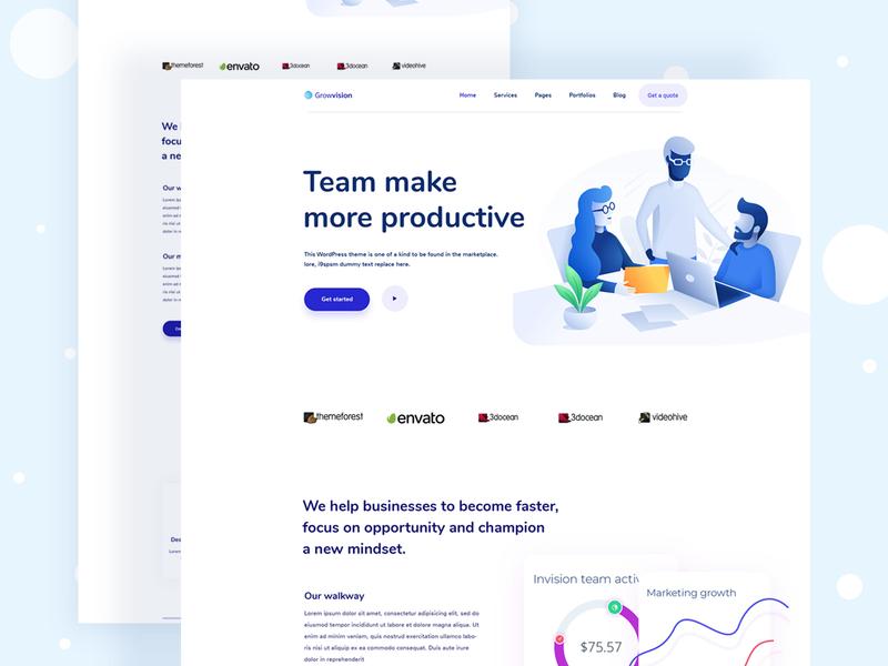 Team management apps landing page minimalist flat design colorfull 2019 trend exploration blog page illustration color pricing page about us page design homeapge app landing page