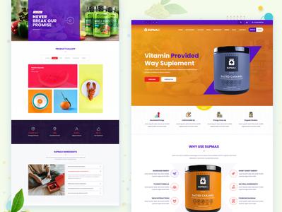 Supmax - Health Supplement Landing Page flat web personal portfolio 2019 design trend app landing page digital agency landing page design website homepage