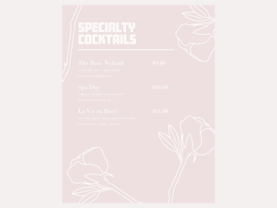 specialty cocktail menu | print