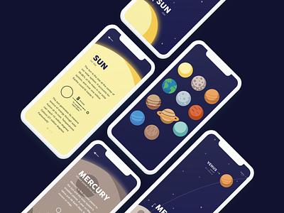 Space Learning App Mockup learning education app concept app sketch app