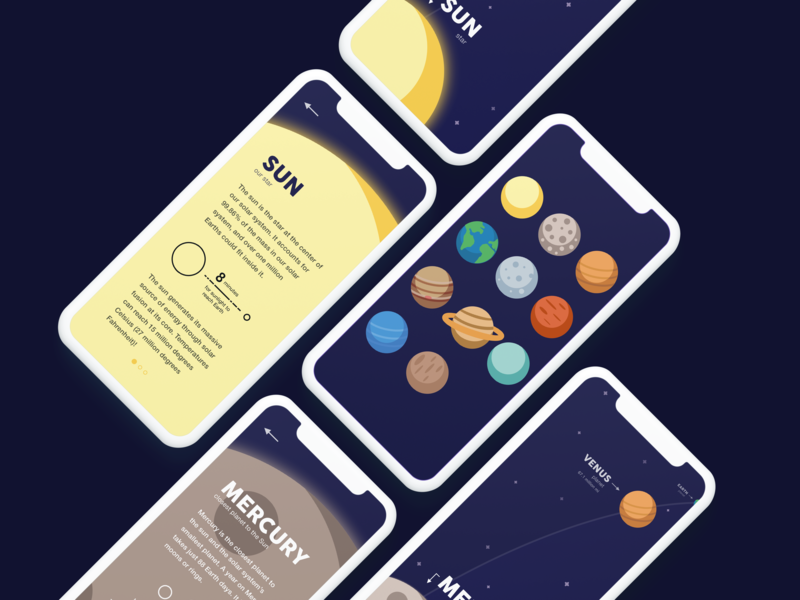 Space Learning App Mockup learning education app concept app sketch app